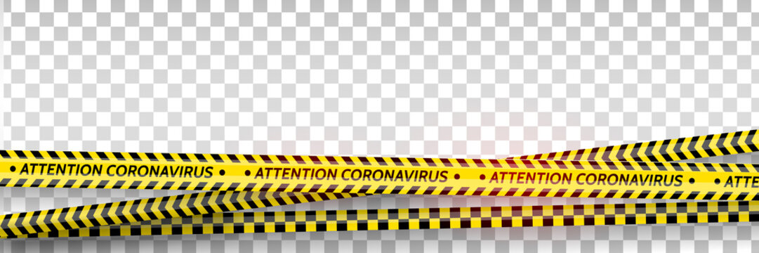 Pandemic stop. Coronavirus covid-19 2019-nCoV. Black and yellow stripes set. Warning tapes. Danger. Quarantine biohazard sign. Caution ,Warning or stop corona virus concept. Vector