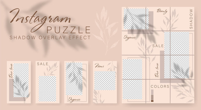 Instagram puzzle. Design backgrounds for social media banner. Set Instagram stories and post frame templates.Vector cover. Mockup for personal blog or shop. Shadow overlay effect Endless square puzzle
