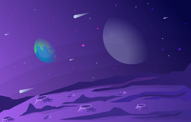 Landscape Surface of Planet Sky Space Science Fiction Fantasy Illustration