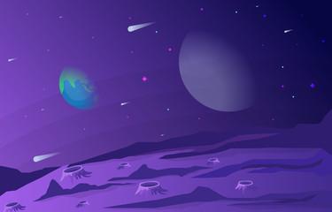 Fotorolgordijn Snoeien Landscape Surface of Planet Sky Space Science Fiction Fantasy Illustration