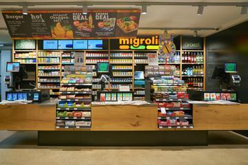 ZURICH, SWITZERLAND - CIRCA OCTOBER, 2018: interior shot of Migrolino convenience store.