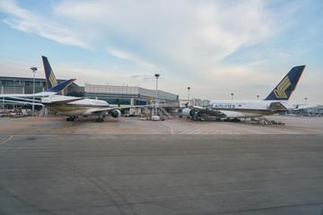 SINGAPORE - CIRCA APRIL, 2019: Changi International Airport seen from Singapore Airbus A350.