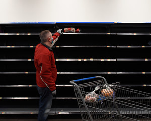 Empty Grocery Store after Virus Pandemic