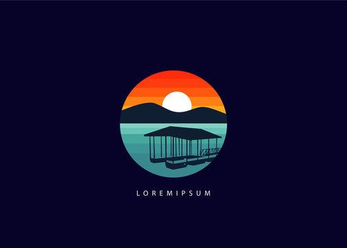 Lake dock logo. silhouette circle lake dock illustration vector