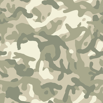 Camouflage pattern background, seamless vector texture. Classic clothing style masking camo repeat print. Light pastel green colors.