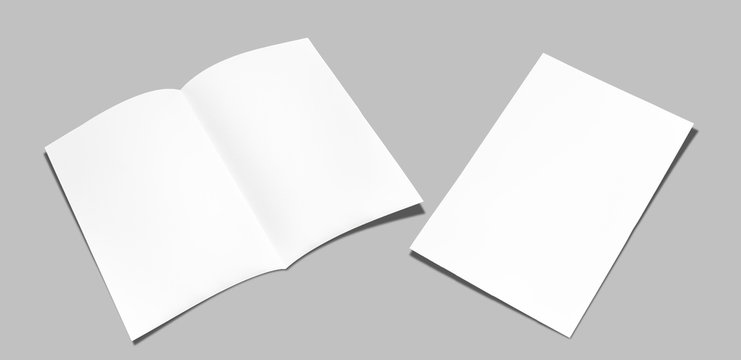 Leaflet folded white paper really,Open leaflet in square format.Empty paper sheet in A4 size isolated on gray background. Flat ray papers ,studio shot
