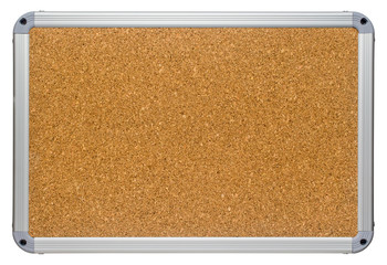 Clean corkboard with modern looking metallic color plastic frame. Sharp detailed blank cork board surface texture. Isolated on white background.