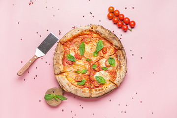 Delicious pizza Margherita on color background
