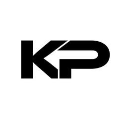 Obraz Initial 2 letter Logo Modern Simple Black KP - fototapety do salonu