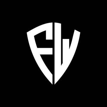 FW logo monogram with shield shape design template