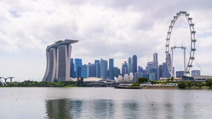 Papier Peint - Time lapse of Singapore City Skyline at Marina bay sand in Singapore.