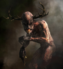 A horrifying monster with pale skin, long claws, sharp teeth, and an elongated head with antlers emerges from the night mists.  Meet the Wendigo.