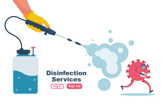 Disinfection services concept. Prevention controlling epidemic of coronavirus covid-2019. Worker in chemical protection disinfects. Vector illustration flat design. Cleaner in hand. Runaway virus.