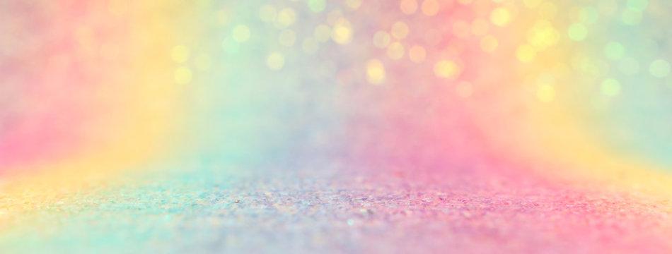 Image of rainbow pastel glitter background