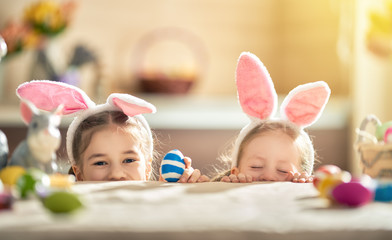 children wearing bunny ears on Easter day