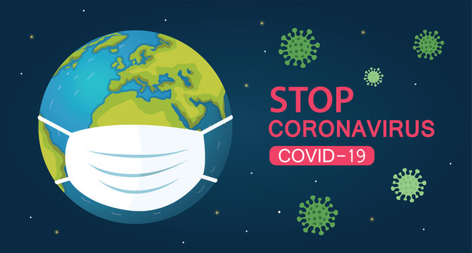 A medical mask protects against the spread of coronavirus covid-19, world in white medical face mask. Concept of coronavirus quarantine vector illustration.