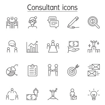 Business consulting icon set in thin line style
