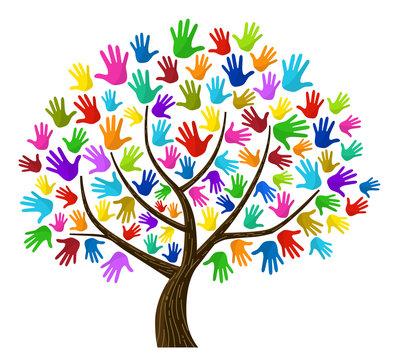 カラフルな手のひらの木