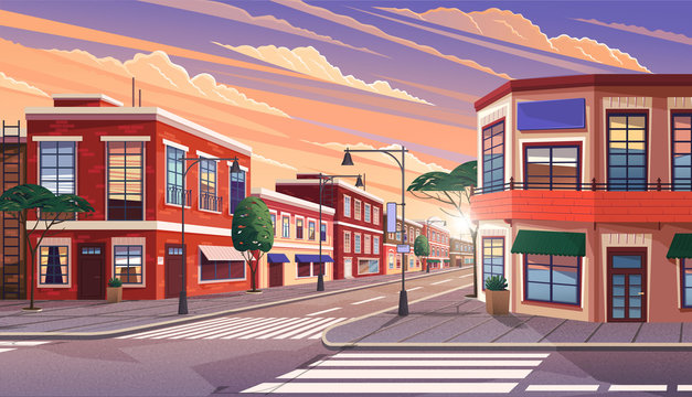 Street of town at morning. Cityscape with old apartment houses and trees on crossroad. Cartoon vector illustration of historic urban area. City street with vintage houses building. Old urban landscape