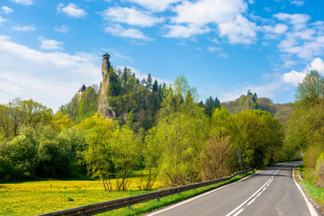 Orava Castle on the high steep rock near the rock. one of the most beautiful medieval fortress in Slovakia. popular travel destination. beautiful sunny day. trees in green foliage