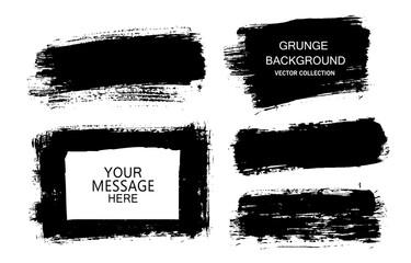 Painted grunge stripes set. Black labels, background, paint texture. Brush strokes vector. Handmade design elements. Fotomurales