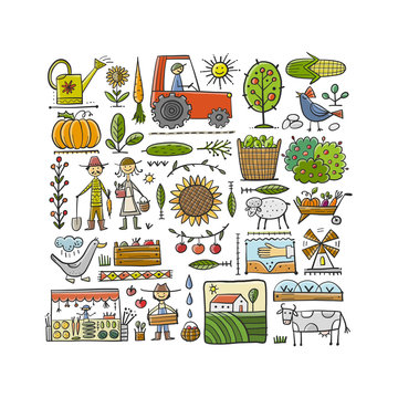 Organic Farm Background For your Design. Harvest Festival. Agriculture collection. Organic farming eco concept. Fresh products, locally grown and organic food. Farmer's Market.