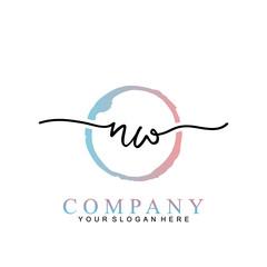 NW Handwritten initial logo vector logo template with brush