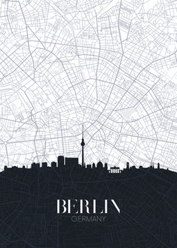 Skyline and city map of Berlin, detailed urban plan vector print poster