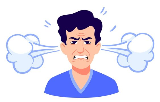 Angry cartoon man with steam coming out of ears isolated on white. Portrait of stressed male having anger and irritation emotion vector graphic illustration. Face of depressed person with headache