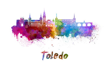 Fotomurales - Toledo skyline in watercolor