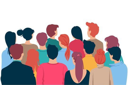 Back view colored head of cartoon people crowd theater watching isolated on white background. Viewers characters man and woman looking at show entertainment presentation vector graphic illustration