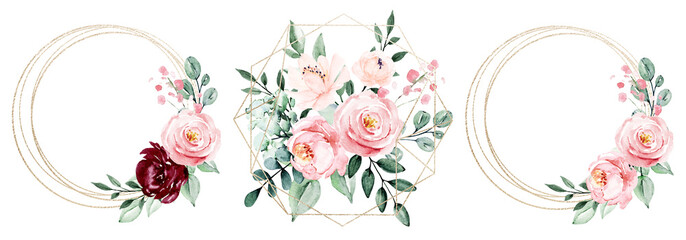 Gold frames set, wreath border and blossom arrangement. Watercolor clip art hand painting, floral geometric background. Flowers compositions isolated on white background.