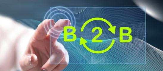 Woman touching a b2b concept