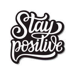 Photo on textile frame Positive Typography Stay positive lettering