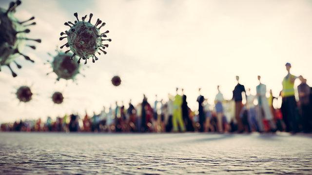 People defend from virus, coronavirus. Cells attacking causing pandemic