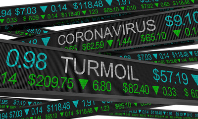 Photo sur Aluminium Pays d Afrique Coronavirus Stock Market Crash Turmoil COVID-19 Outbreak Pandemic 3d Illustration