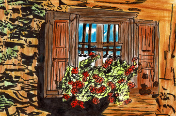 Tyrolean Window with Flowers, Hand Drawn Lead Pencil Drawing
