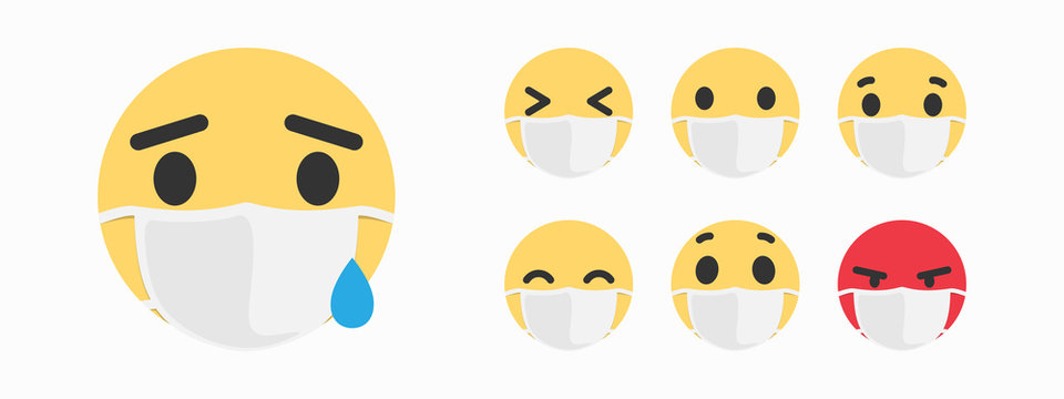 Sick Emoji. Mask with emoji concept for save the world with Covid-19 virus nCoV