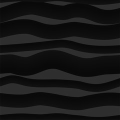 Abstract dark seamless pattern with waves, curved lines. Repeated black background texture. Vector illustration. Good for cover, fabric, wallpaper, wrapping paper, etc.