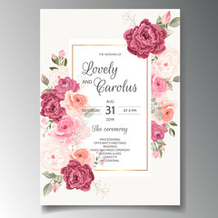 Beautiful wedding invitation card template set with floral frame