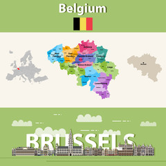 Fototapete - Belgium administrative divisions map colored by provinces. Brussels cityscape colorful poster. Vector illustration