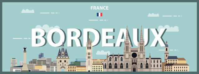 Fototapete - Bordeaux cityscape colorful poster. Vector illustration