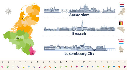 Fototapete - Vector regions map of Belgium, Netherlands and Luxembourg. Amsterdam, Brussels and Luxembourg City flat style skylines in dark blue color palette. Navigation and location icons