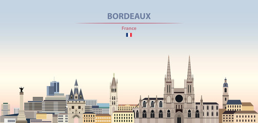 Fototapete - Vector illustration of Bordeaux city skyline on colorful gradient beautiful daytime background