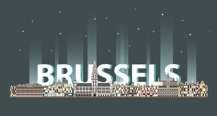 Fototapete - Brussels cityscape at night colorful poster. Vector illustration