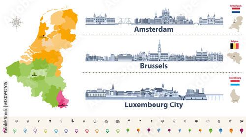 Fototapete Vector regions map of Belgium, Netherlands and Luxembourg. Amsterdam, Brussels and Luxembourg City flat style skylines in dark blue color palette. Navigation and location icons