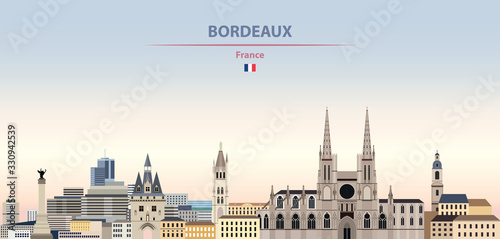 Fototapete Vector illustration of Bordeaux city skyline on colorful gradient beautiful daytime background