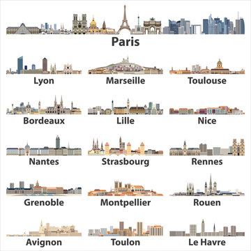 France cities skylines icons isolated on white background. Vector illustration