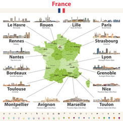 Fototapete - vector map of France with main cities on it. French cities skylines detailed icons