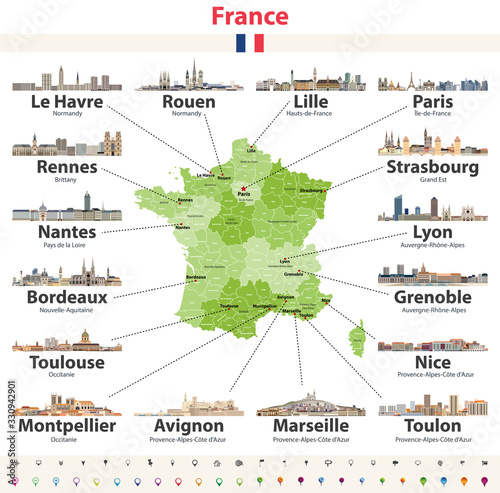 Fototapete vector map of France with main cities on it. French cities skylines detailed icons